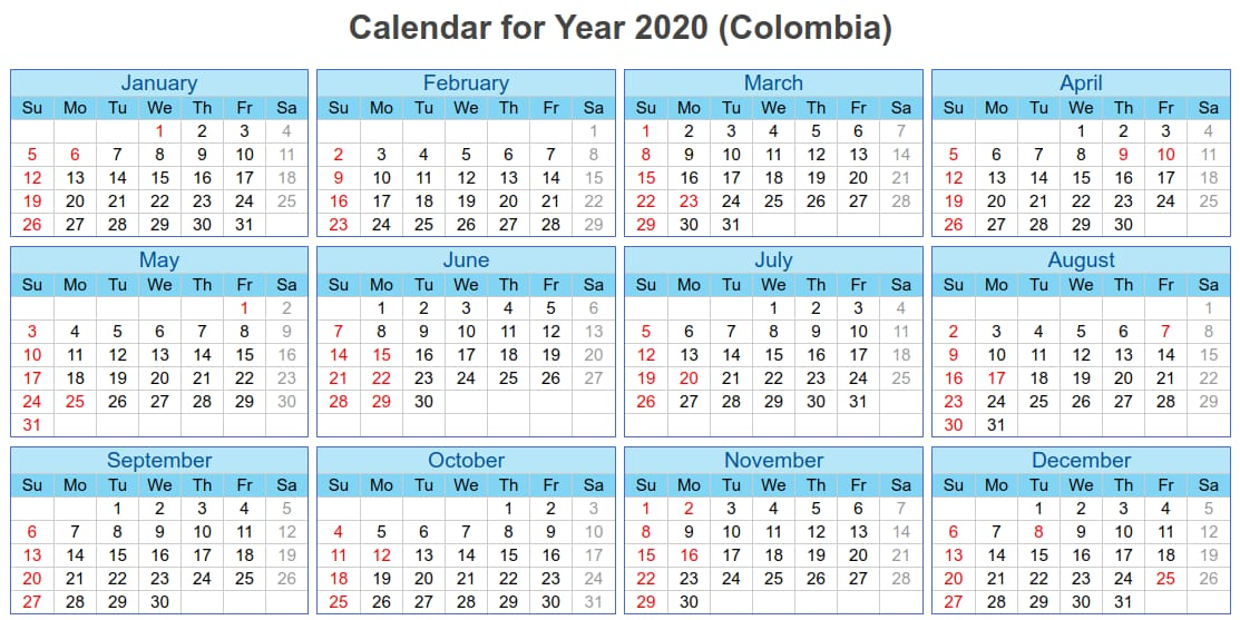 Colombia National Holidays 2020