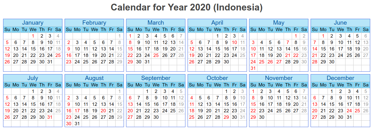 Calendar of Holidays for Bali