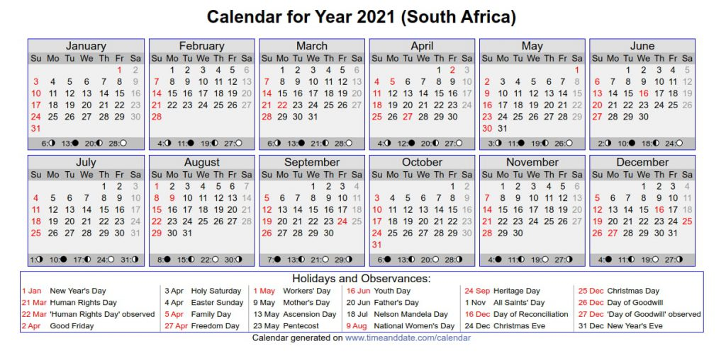 south africa holidays 2021
